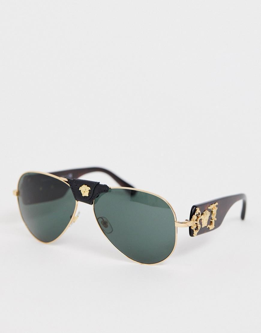 4b94e21d4570 Versace 0ve2150q Aviator Sunglasses With Detachable Medusa in Black ...