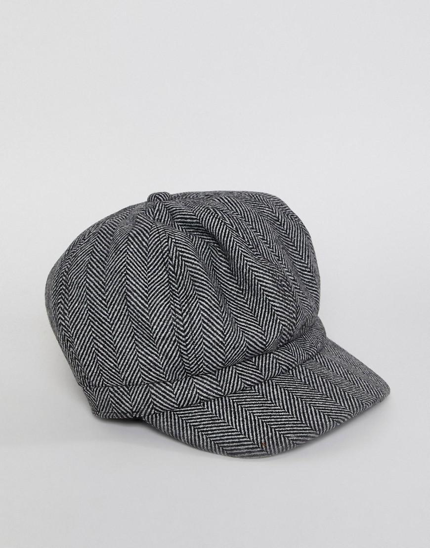 ASOS Baker Boy Hat In Oversized Black Herringbone in Black for Men - Lyst 6359caf9b2e9