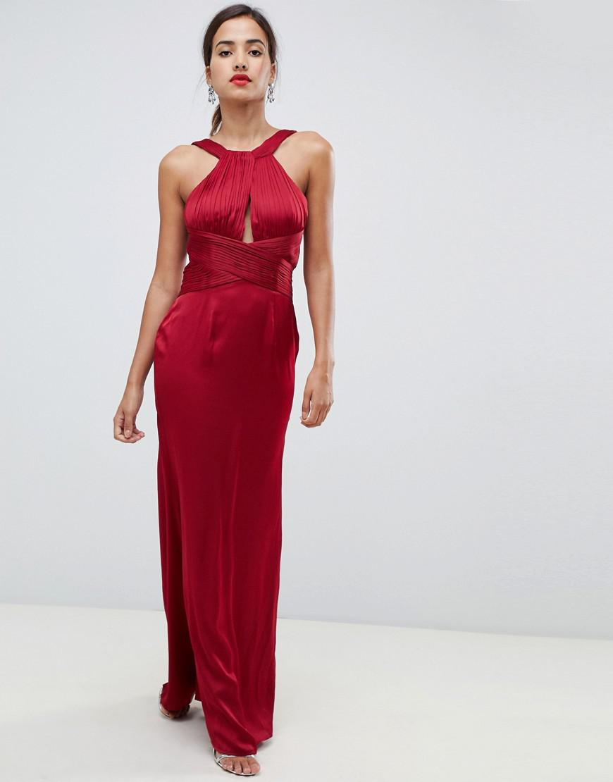 eae665e04d02 Little Mistress Satin Maxi Dress With Keyhole And Gathered Detail in ...