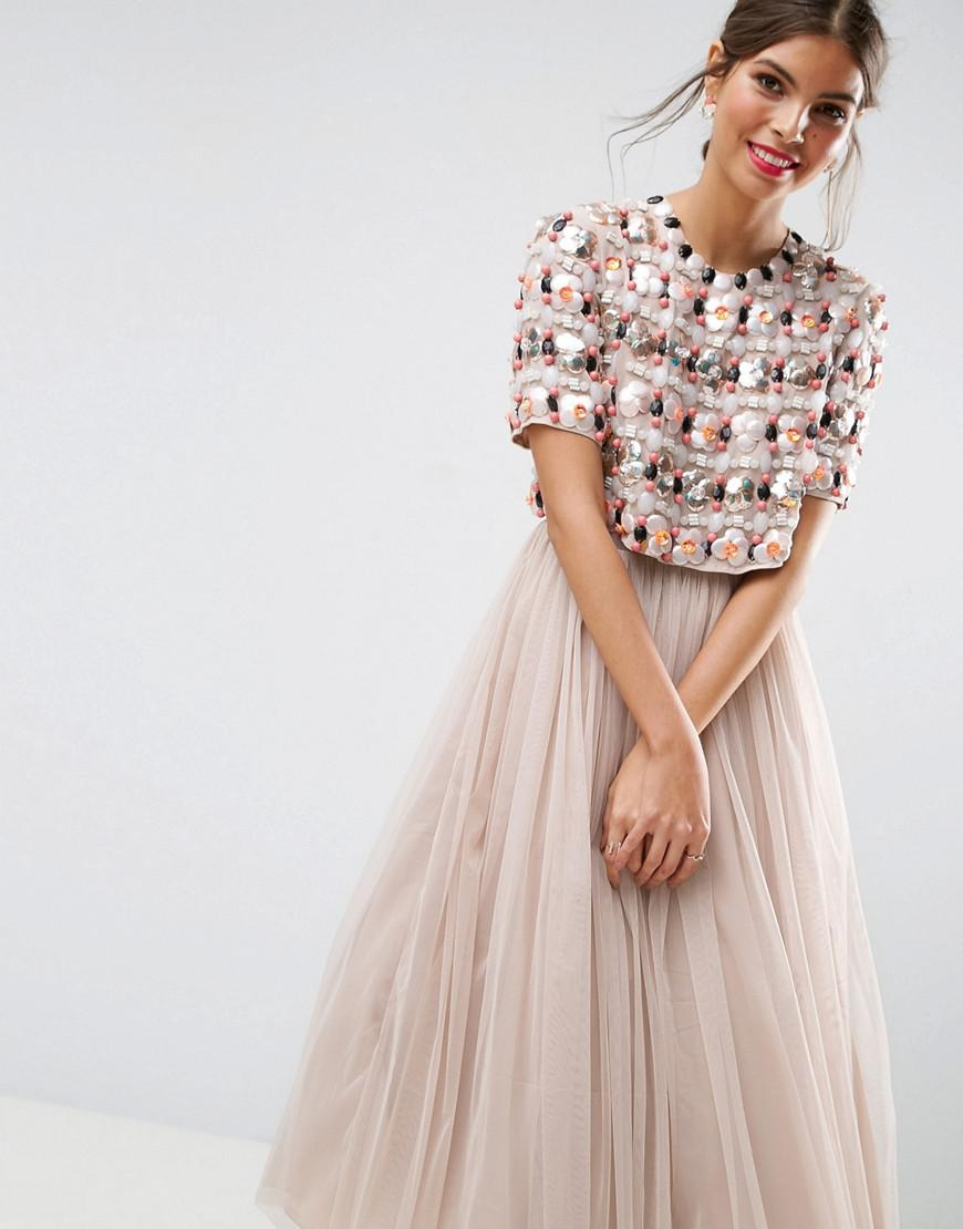 80f1651dc3 ASOS Salon 3d Cluster Crop Top Tulle Midi Dress in Pink - Lyst