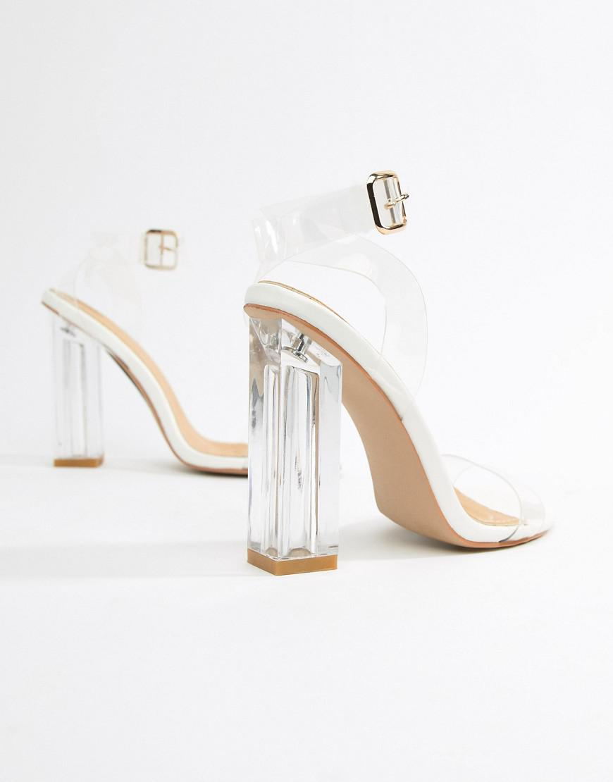 0b3f3e2232d Lyst - PrettyLittleThing Clear Block Heeled Sandals in Natural