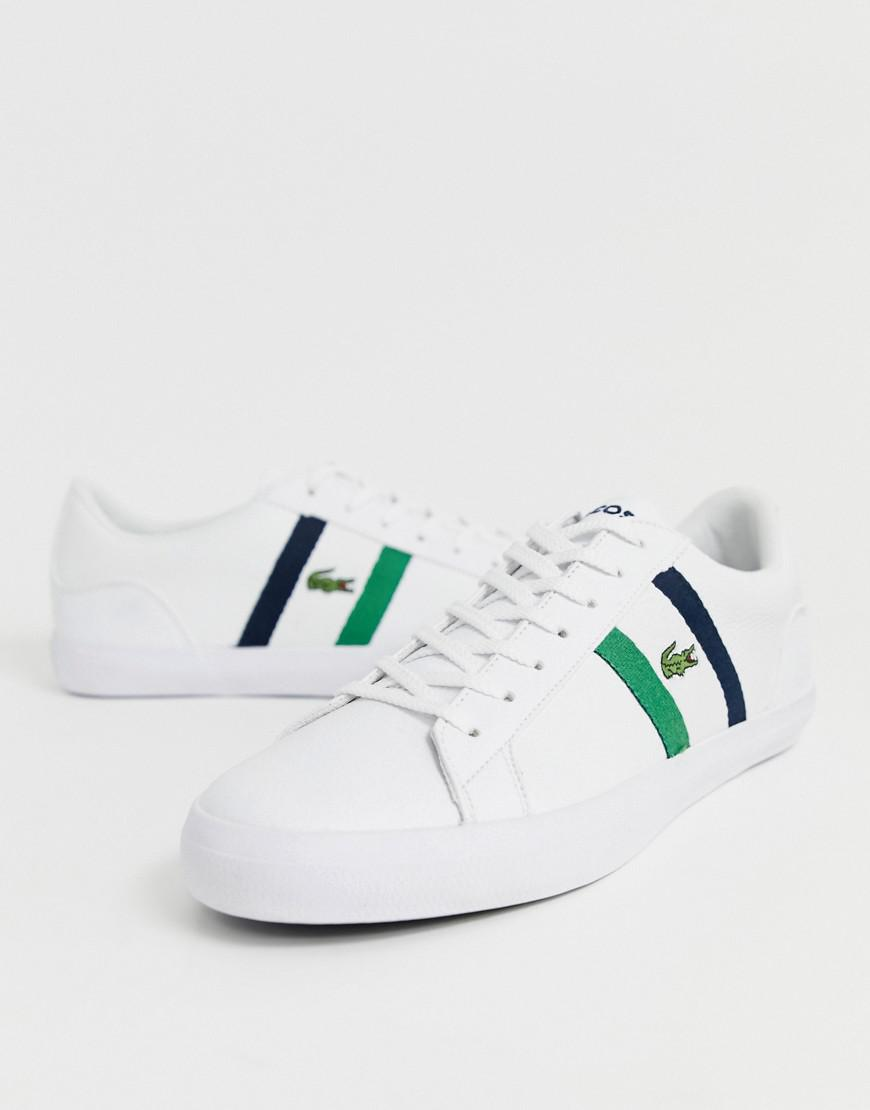 d83aa7e69 Lacoste Lerond Trainers With Side Stripe In White Leather in White for Men  - Lyst