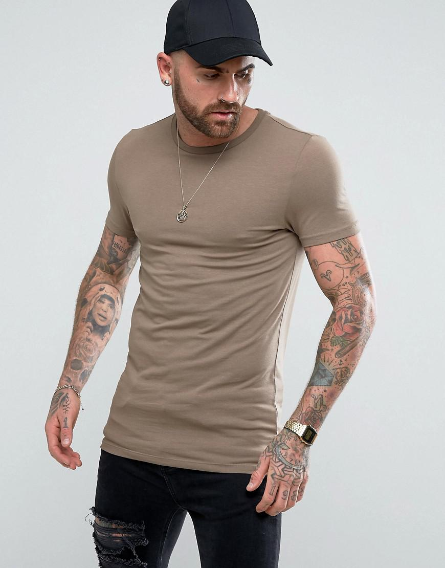ASOS. Men's Longline Muscle T-shirt With Crew Neck In Brown