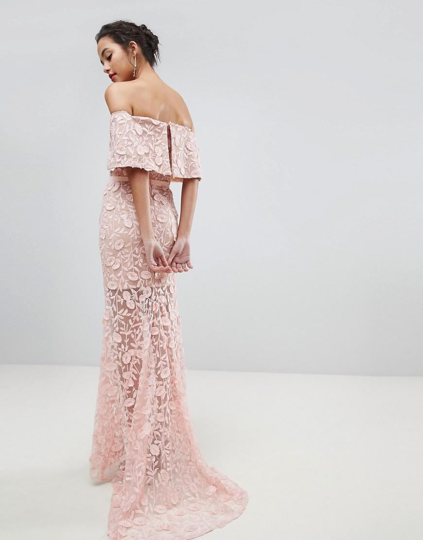 c94a4b2e1 Jarlo All Layered Bardot All Over Embroidered Lace Maxi Dress in Pink - Lyst