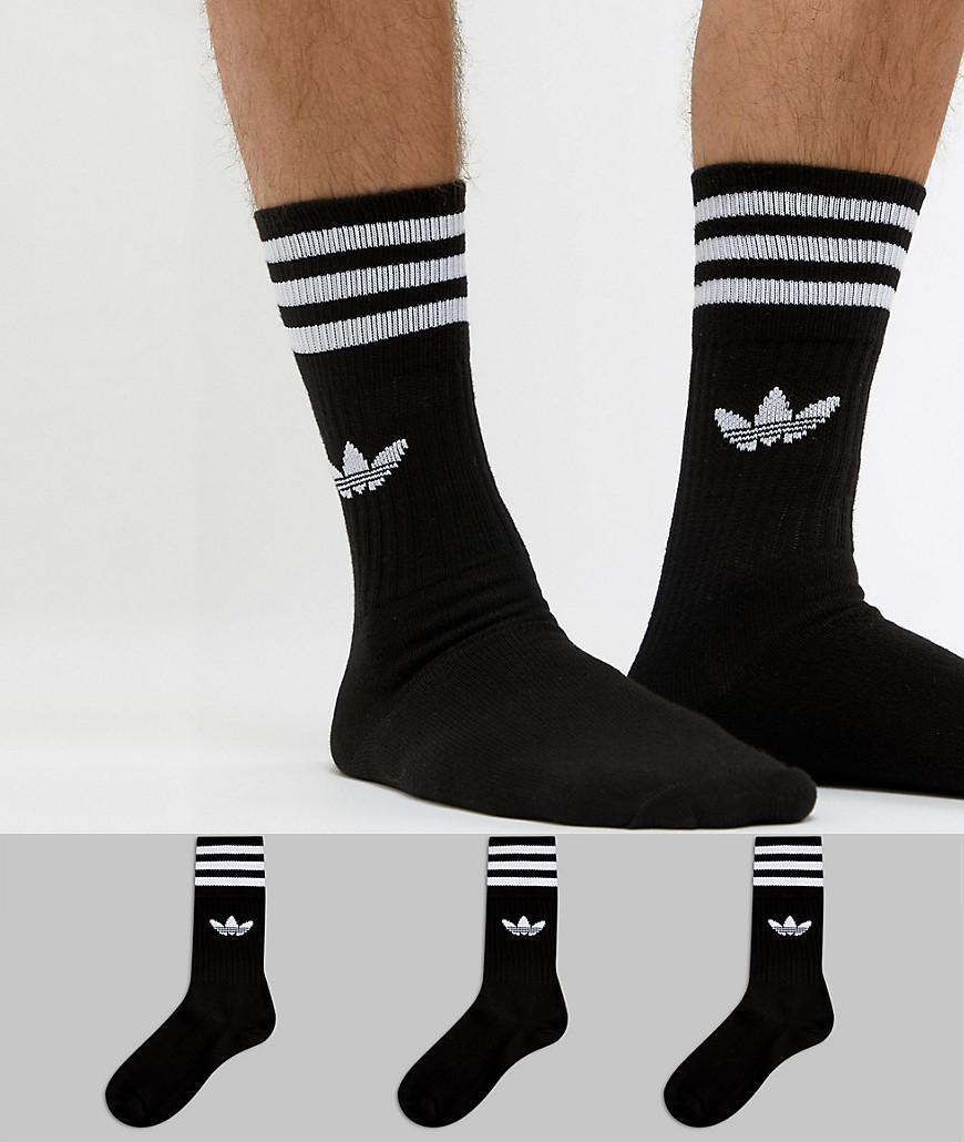 Lyst - adidas Originals Solid Crew 3 Pack Socks In Black S21490 in ... 5de2404be37