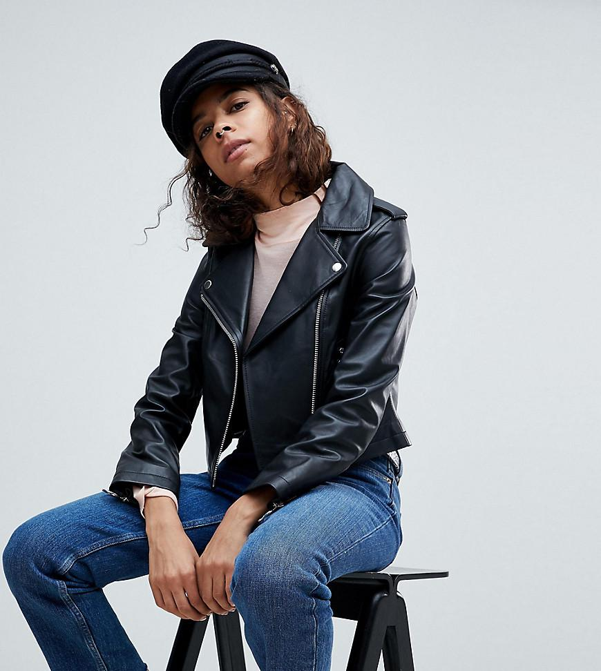 71dd22cf52 ASOS Leather Jacket With Ring Pull Details in Black - Lyst