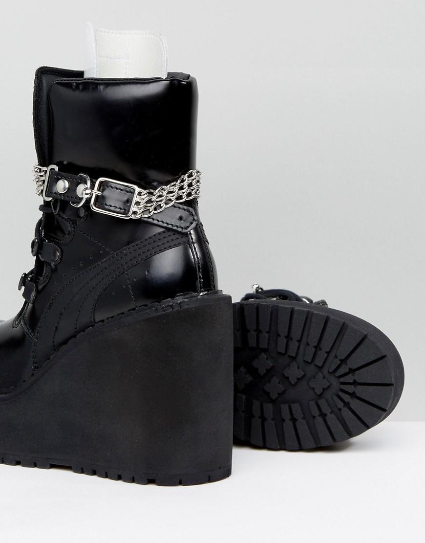 Lyst - PUMA X Fenty By Rihanna Sb Wedge Boot in Black 3a2bc652c