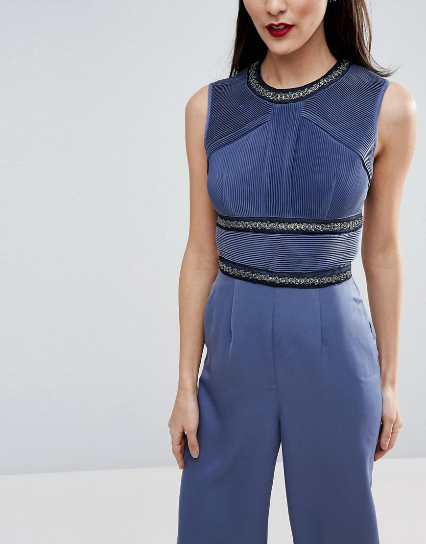 Lyst Asos Red Carpet Jumpsuit With Embellished Panel Details In Blue