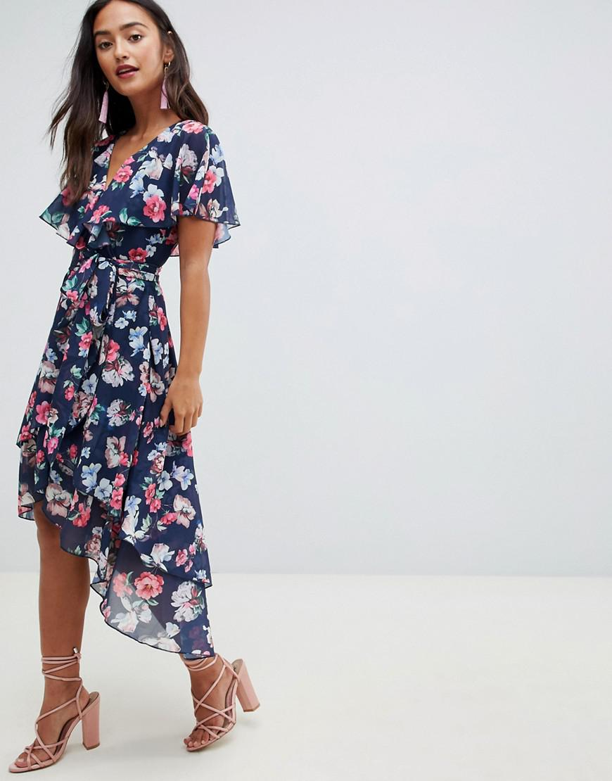 9531593bc68 Lyst - ASOS Cape Back Wrap Midi Dress In Bouquet Print in Blue