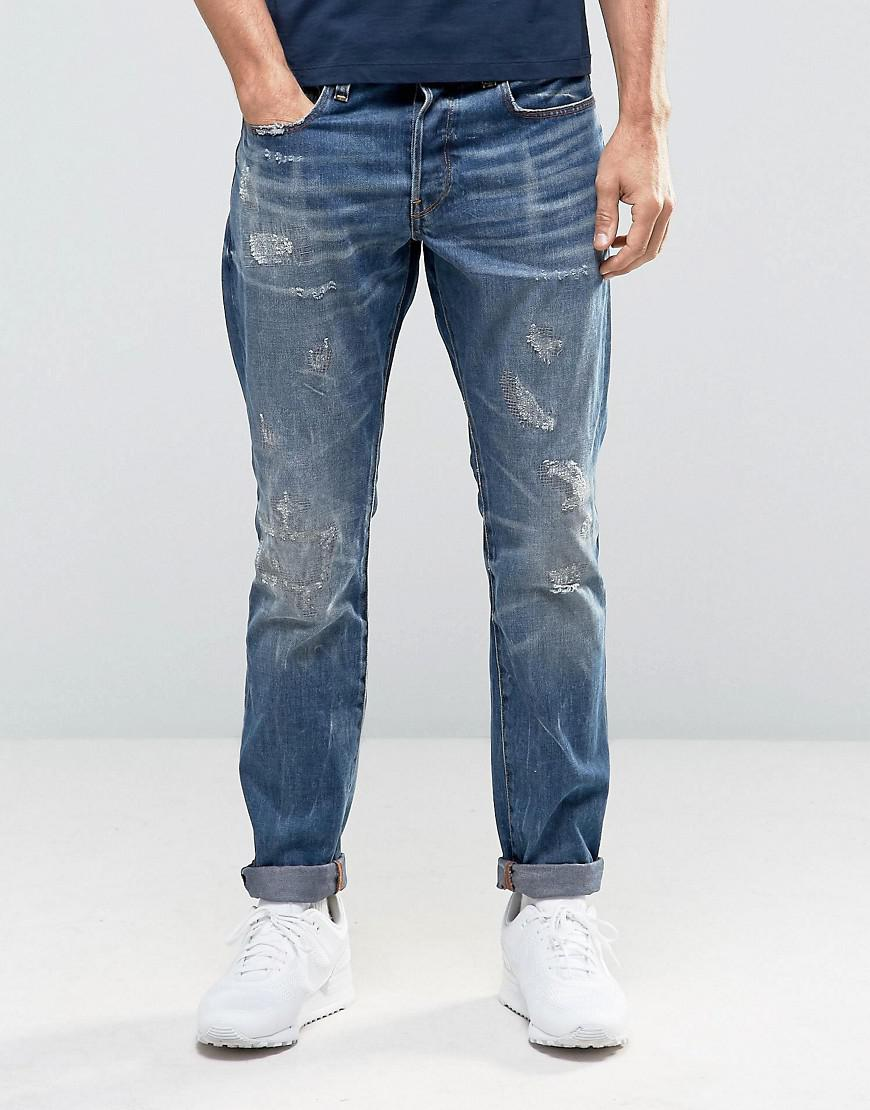 4a29b623ce7 G-Star RAW 3301 Tapered Jeans Dark Aged Restored Distressed 86 in ...