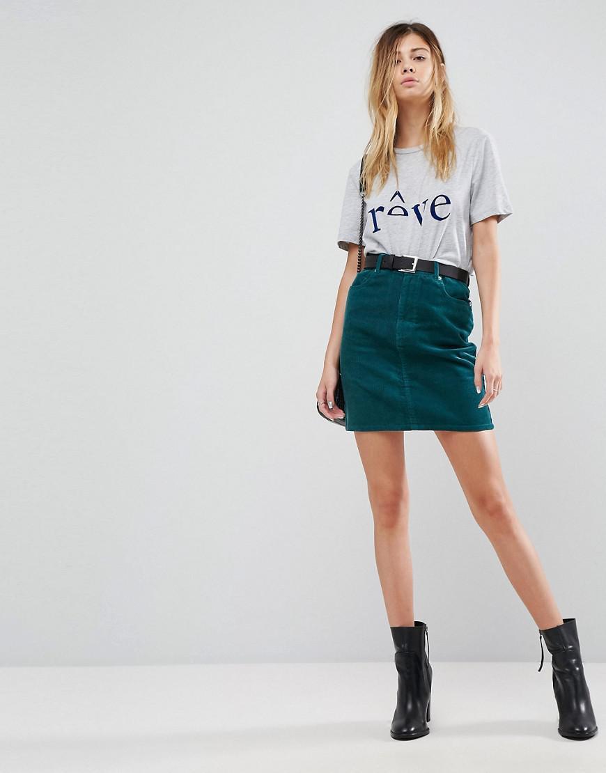 8d09aac53d ASOS Cord Original Skirt In Emerald Green in Green - Lyst