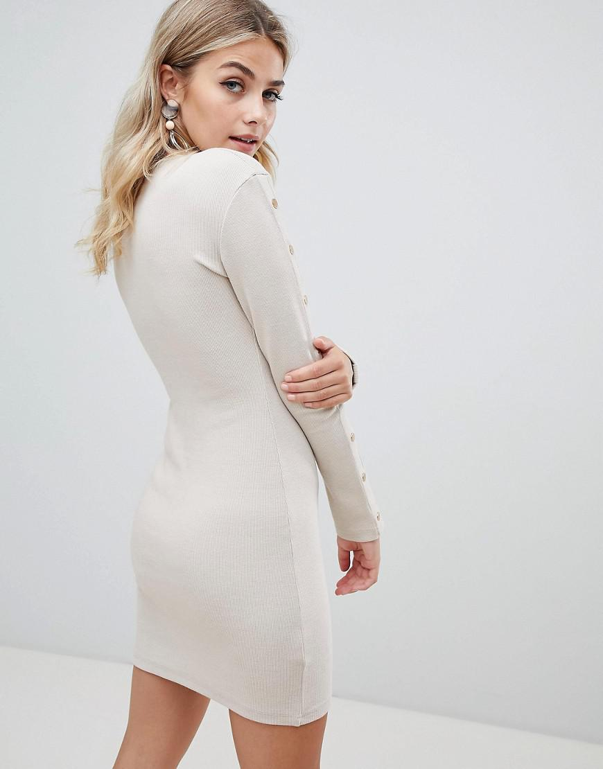 2335e247ea Missguided Ribbed Popper Detail Bodycon Dress In Sand in Natural - Lyst