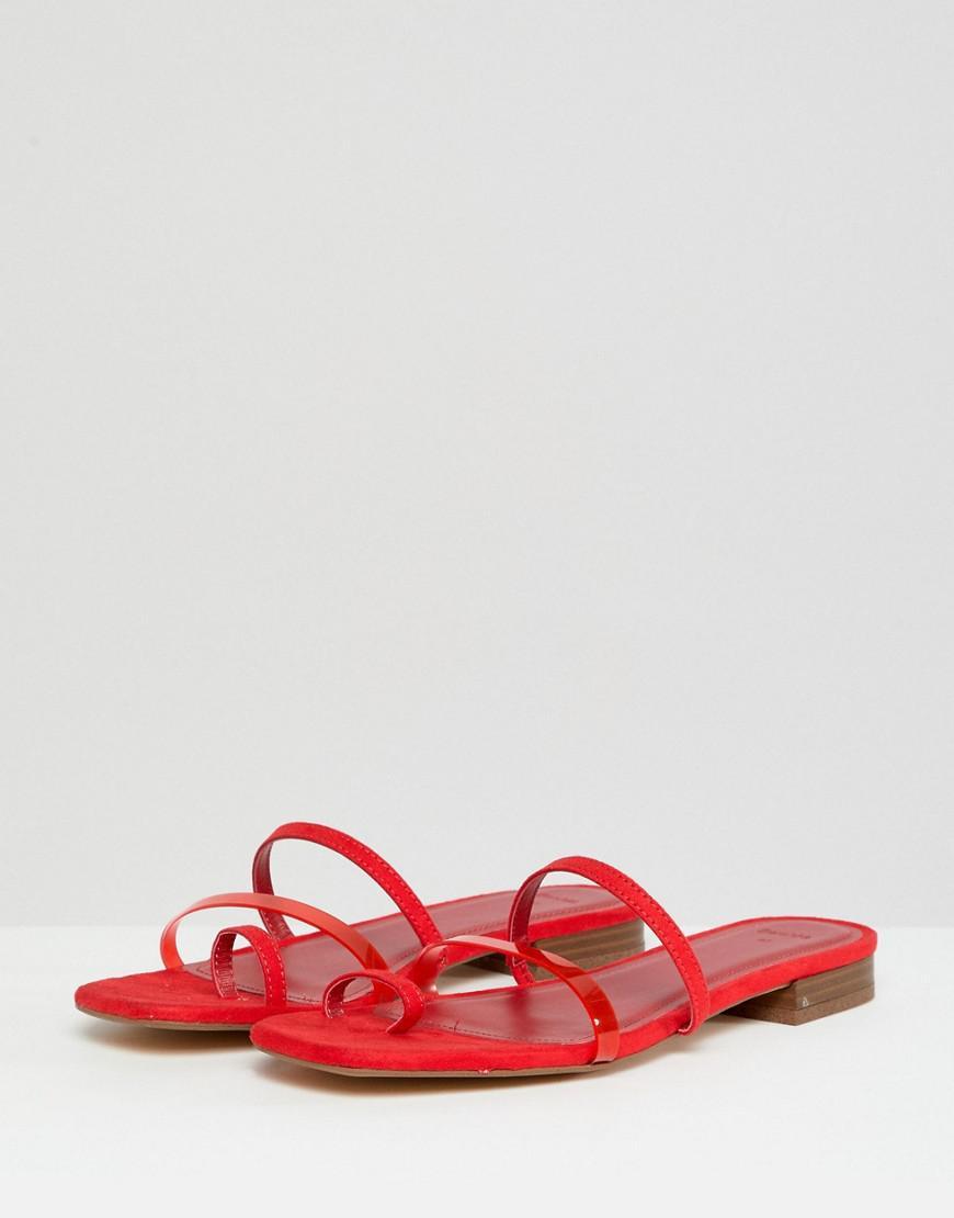 0ec57b1ea49 Bershka Clean Multi Strap Flat Sandals in Red - Lyst