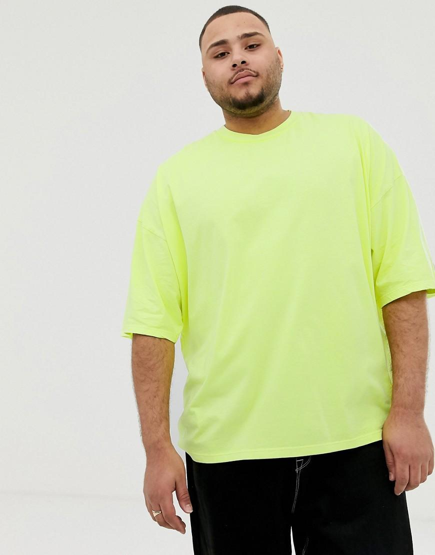 01670fcf ASOS Plus Oversized T-shirt Washed Neon T-shirt With Neon Green Back Print  in Yellow for Men - Lyst