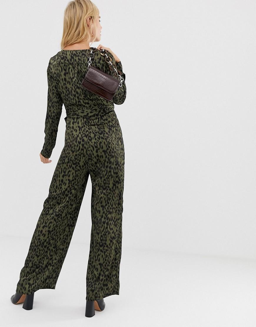 ea32ecd574 Lyst - Liquorish Wrap Front Jumpsuit In Leopard Print With Tie Belt in Green