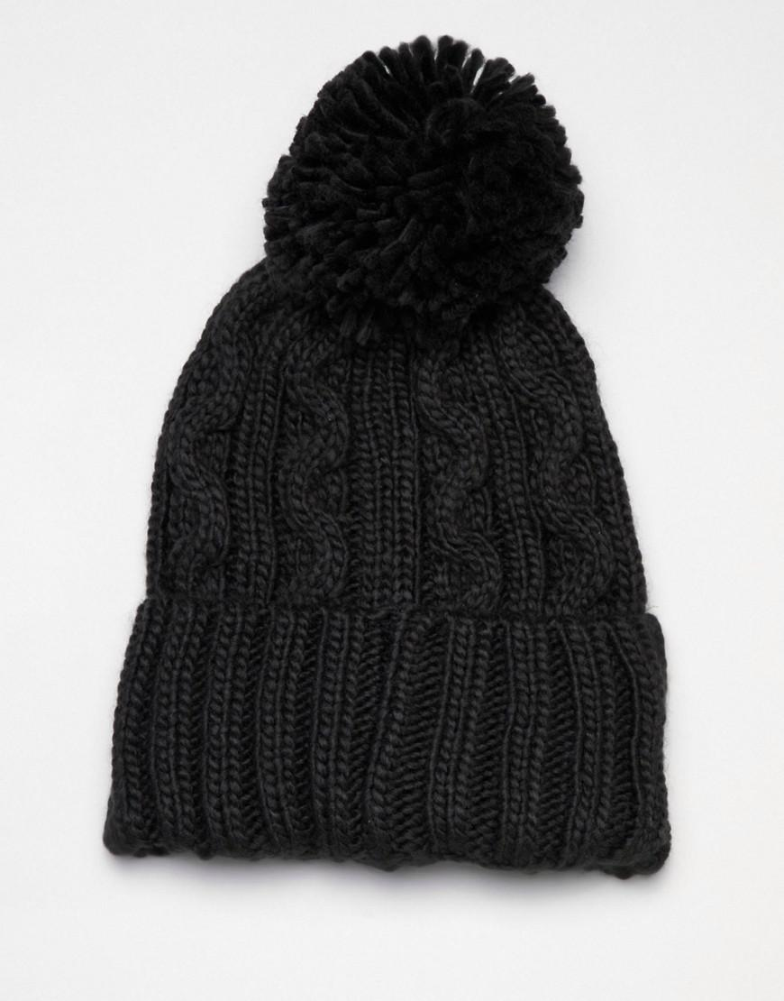 4e9010212ff Lyst - French Connection Cable Knit Bobble Beanie in Black for Men