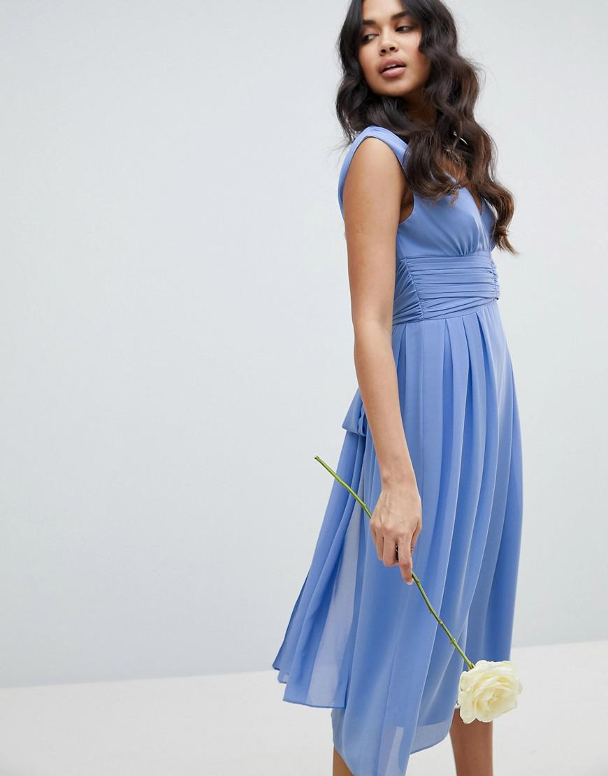 35279c3792c8 TFNC London Wrap Front Midi Bridesmaid Dress With Tie Back in Blue - Lyst