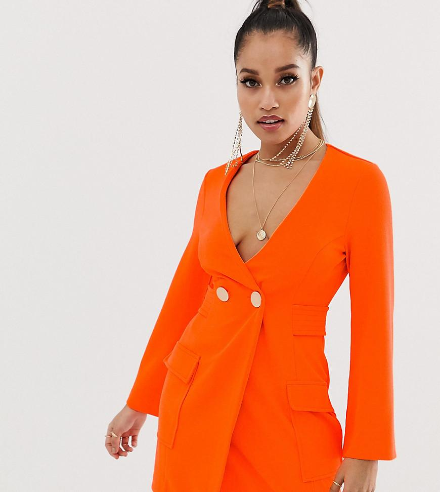 caabeb19a93e ASOS. Women's Orange Asos Design Petite Fluoro Tux Dress With Button Detail