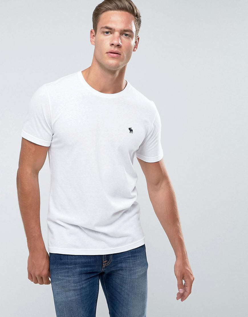 d59220824 Abercrombie & Fitch Slim Fit T-shirt Crew Neck Logo In White in ...