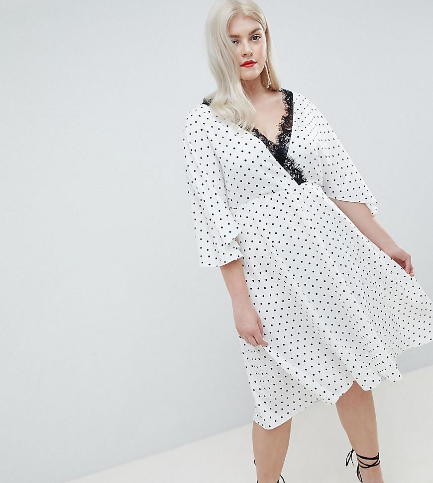 ae978261469 Lyst - ASOS Asos Design Curve Spot Lace Trim Kimono Midi Dress in White