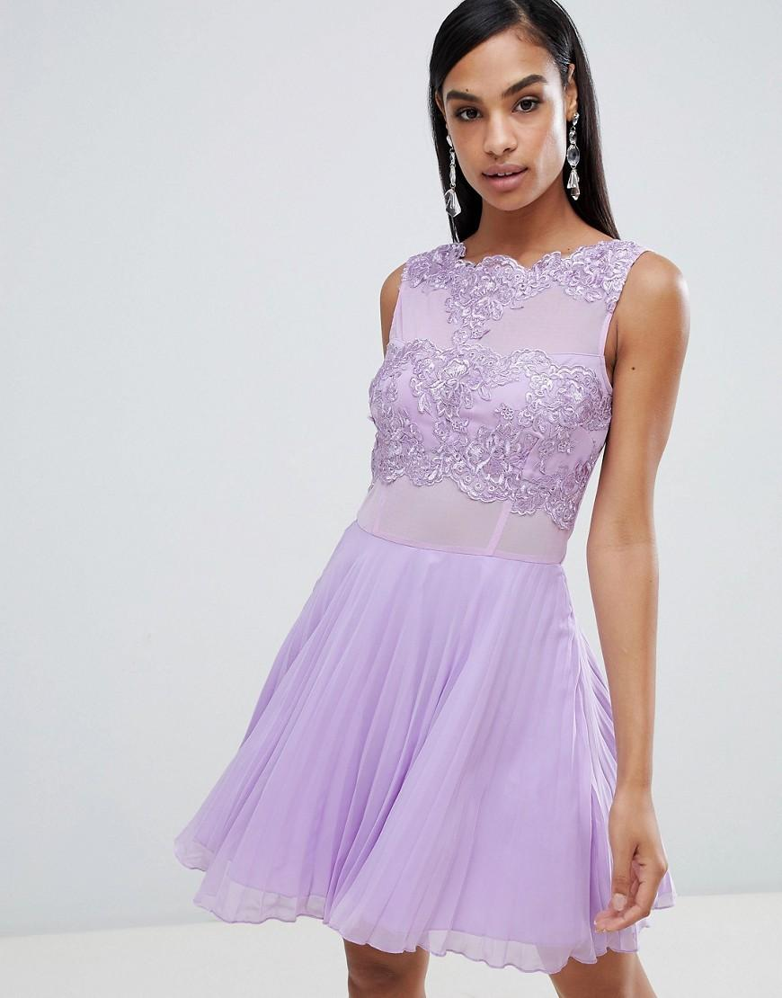 Lyst - AX Paris Tulle Skater Dress With Embellished Detail in Purple 756db975f