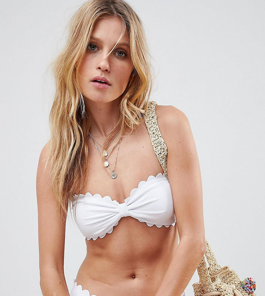 e3575935d8586 Lyst - South Beach White Scallop Edge Mix   Match Bandeau Bikini Top ...