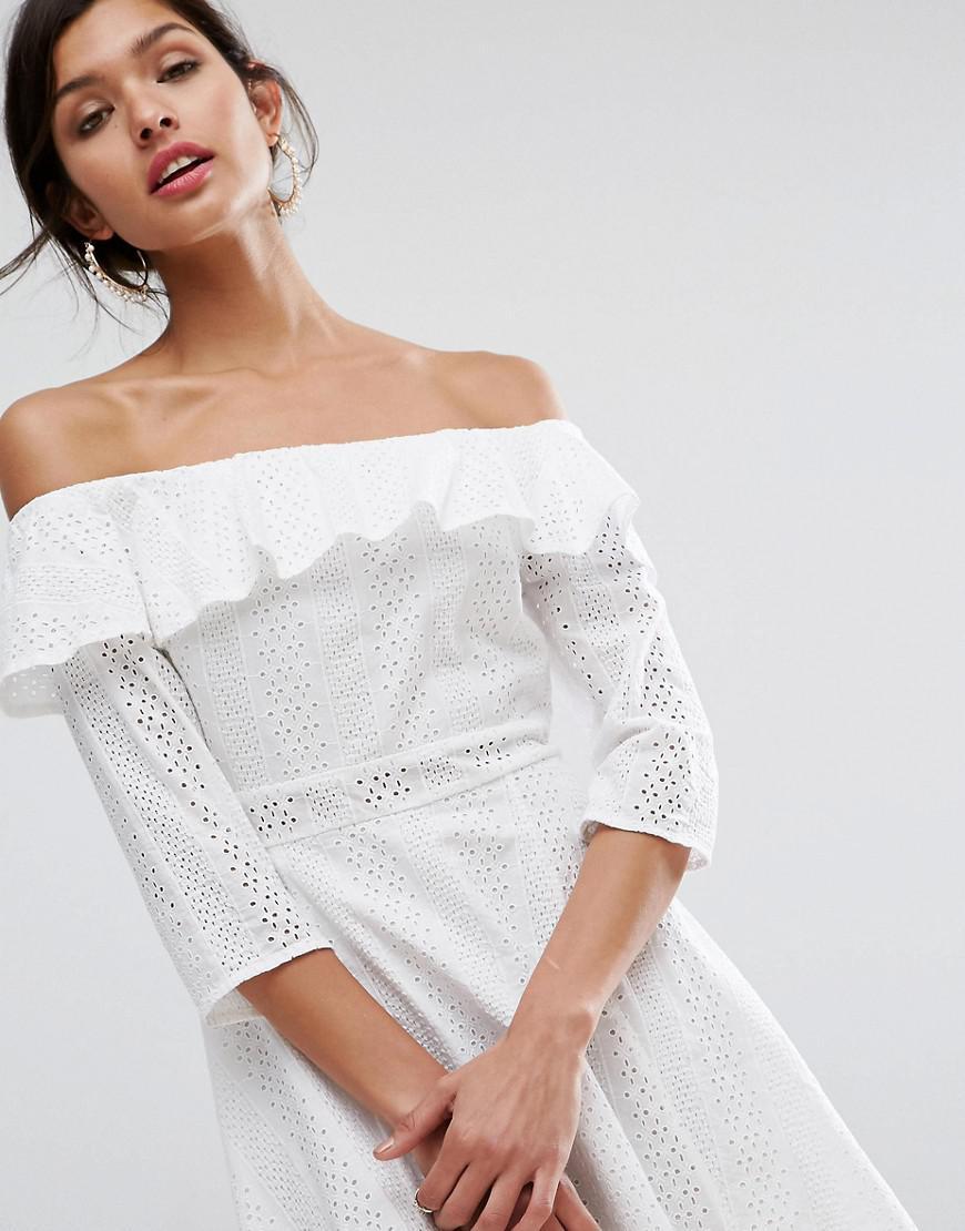 58eb4e7041 Lyst - ASOS Premium Broderie Off Shoulder Skater Dress in White