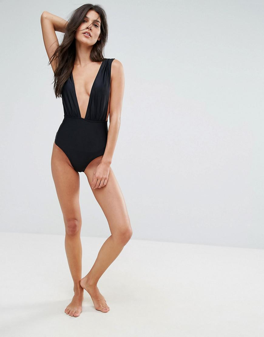 acb55f4a36d88 Pull&Bear Plunge Swimsuit in Black - Lyst