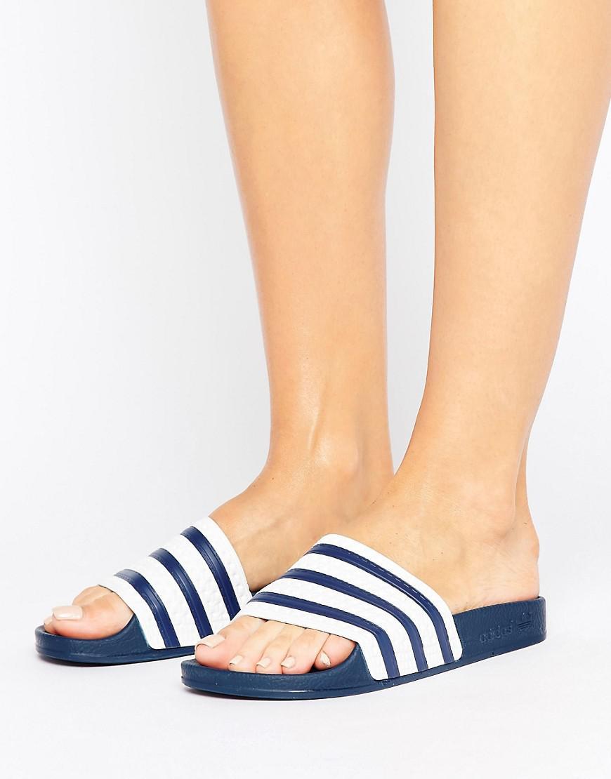 a0884a8f3 adidas Originals Originals White And Navy Adilette Slider Sandals in ...