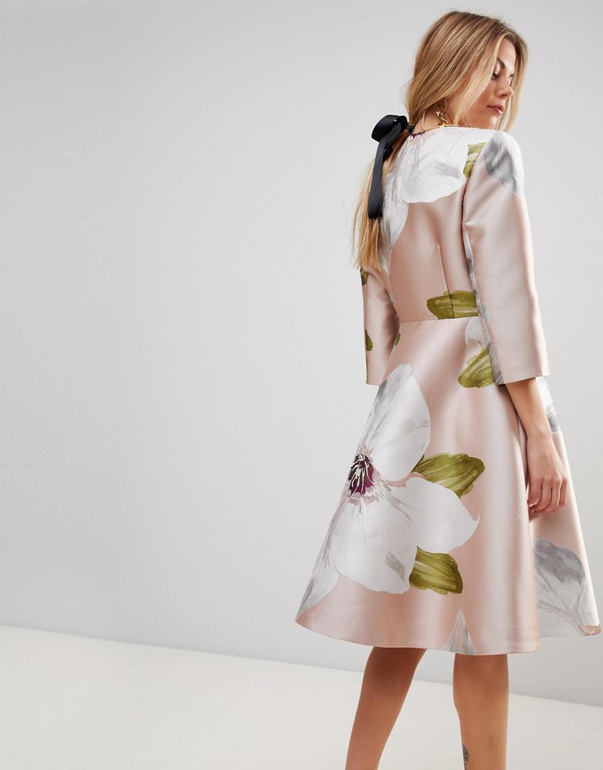 069c543e4 Lyst - Ted Baker Ottie Dress Coat In Chatsworth Jacquard in Pink