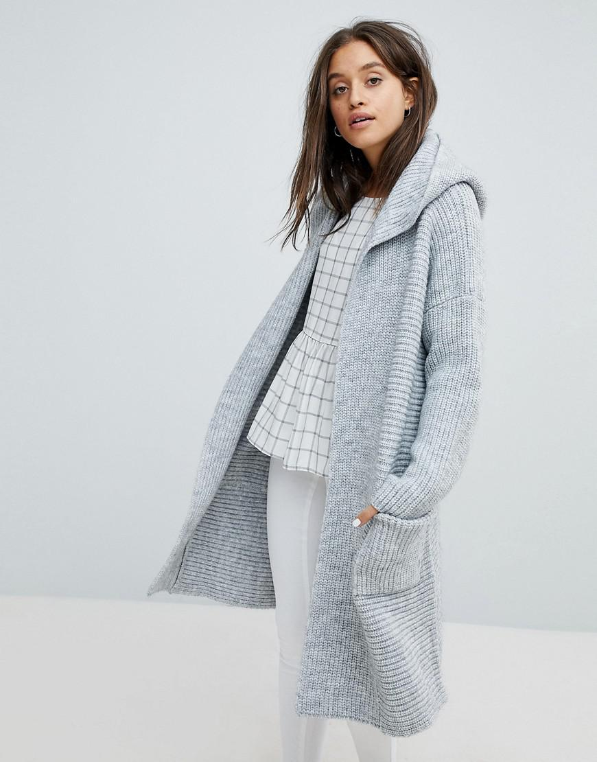 dc3f66b48f7 Esprit Long Line Ribbed Cardigan With Hood in Gray - Lyst