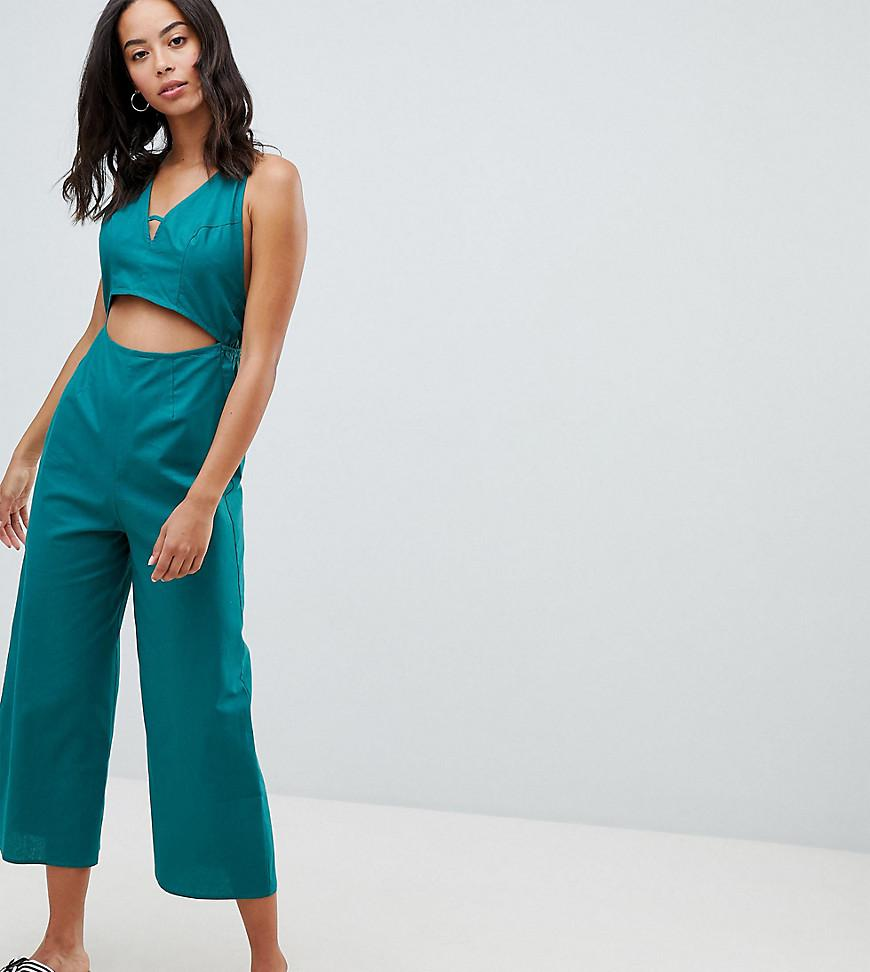 ASOS DESIGN Tall cotton jumpsuit with cut out detail - Black Asos Tall Clearance For Cheap 2018 Pick A Best Amazon Cheap Price Clearance Countdown Package mUjyhOF1G