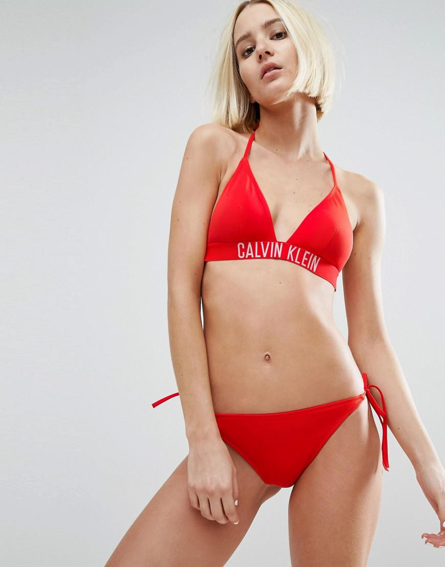 e043a902dbefa Calvin Klein Cheeky String Tie Side Bikini Bottom in Red - Lyst