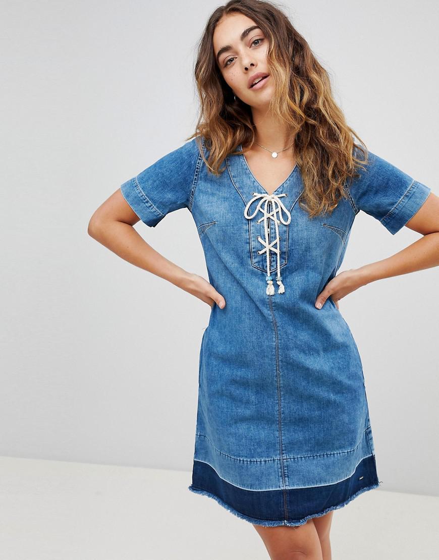 71255e621050 Pepe Jeans Sailaway Denim Shift Dress in Blue - Lyst