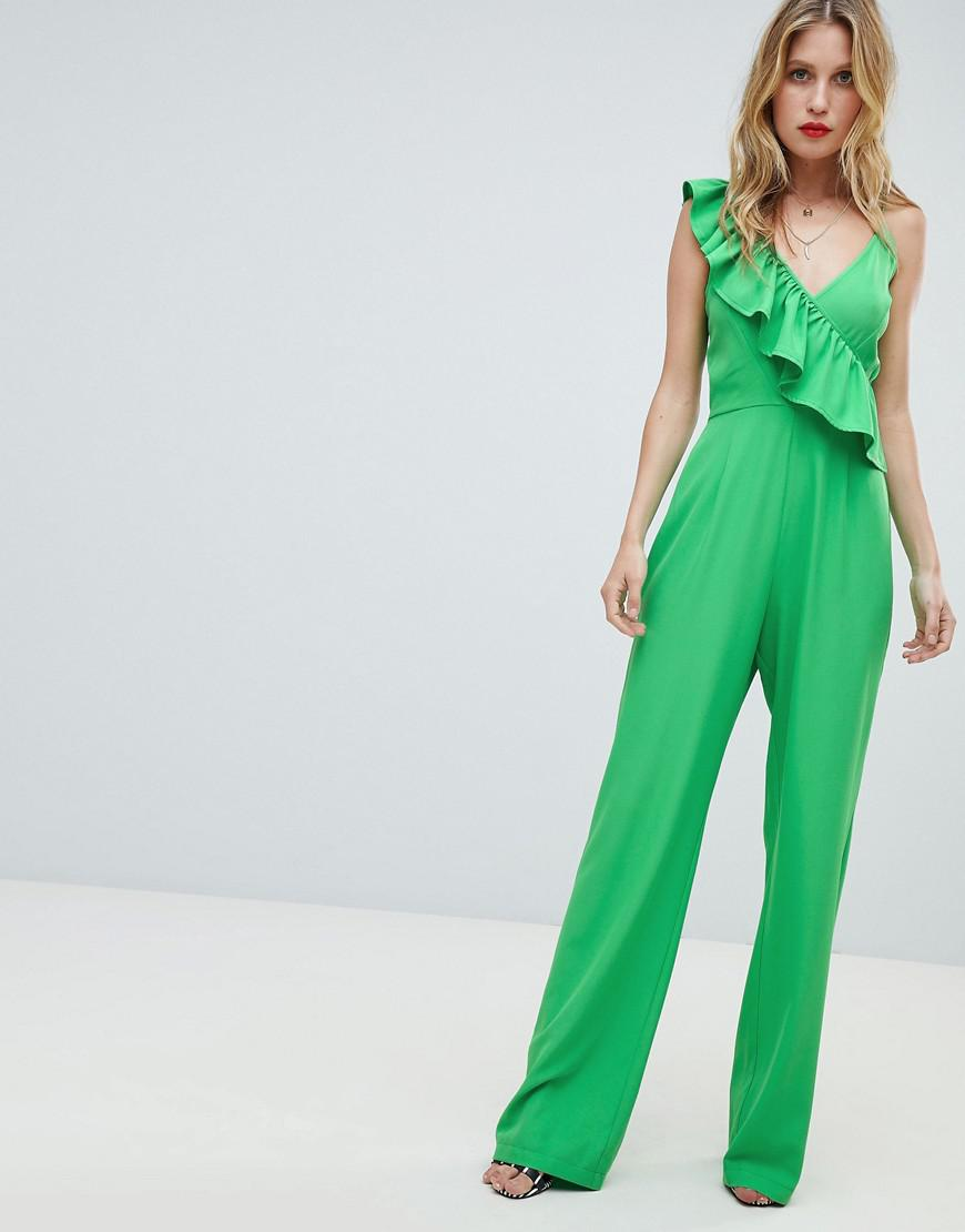 77c66f13885d Lyst - PrettyLittleThing Frill Detail Jumpsuit in Green