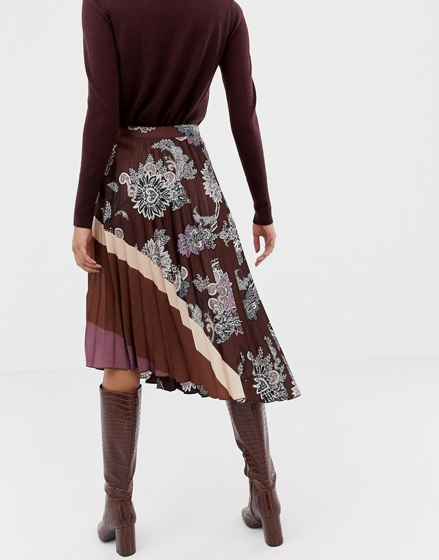 7345a75d3d Lyst - Mango Pleated Paisley Print Skirt in Black
