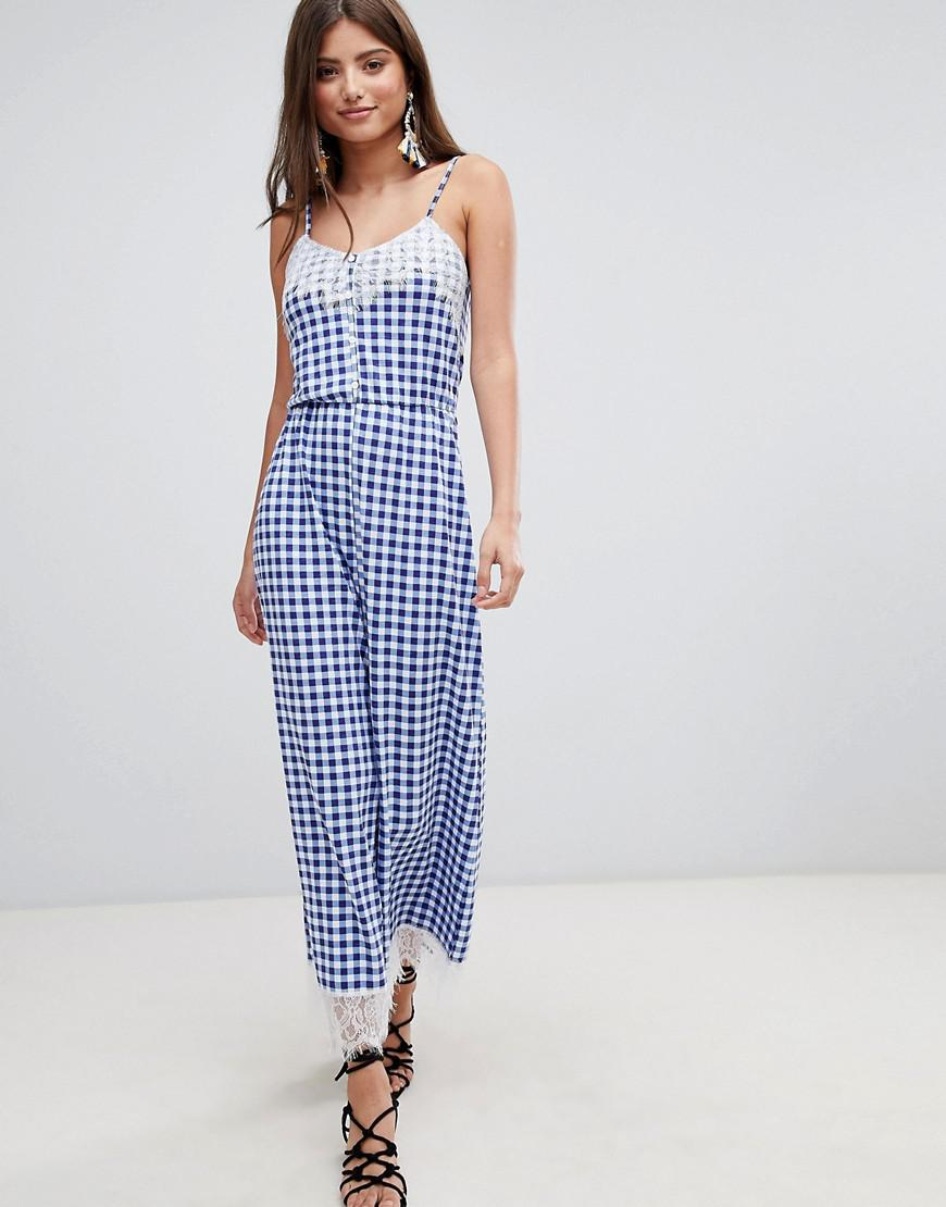 0adafff7d1 Lyst - ASOS Lace Trim Button Front Cami Jumpsuit In Gingham in Blue