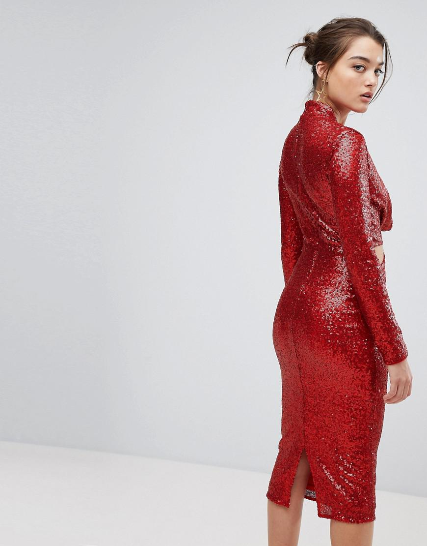 50ae91c399ab ASOS Asos Cowl Front Cut Out Sequin Midi Dress in Red - Lyst