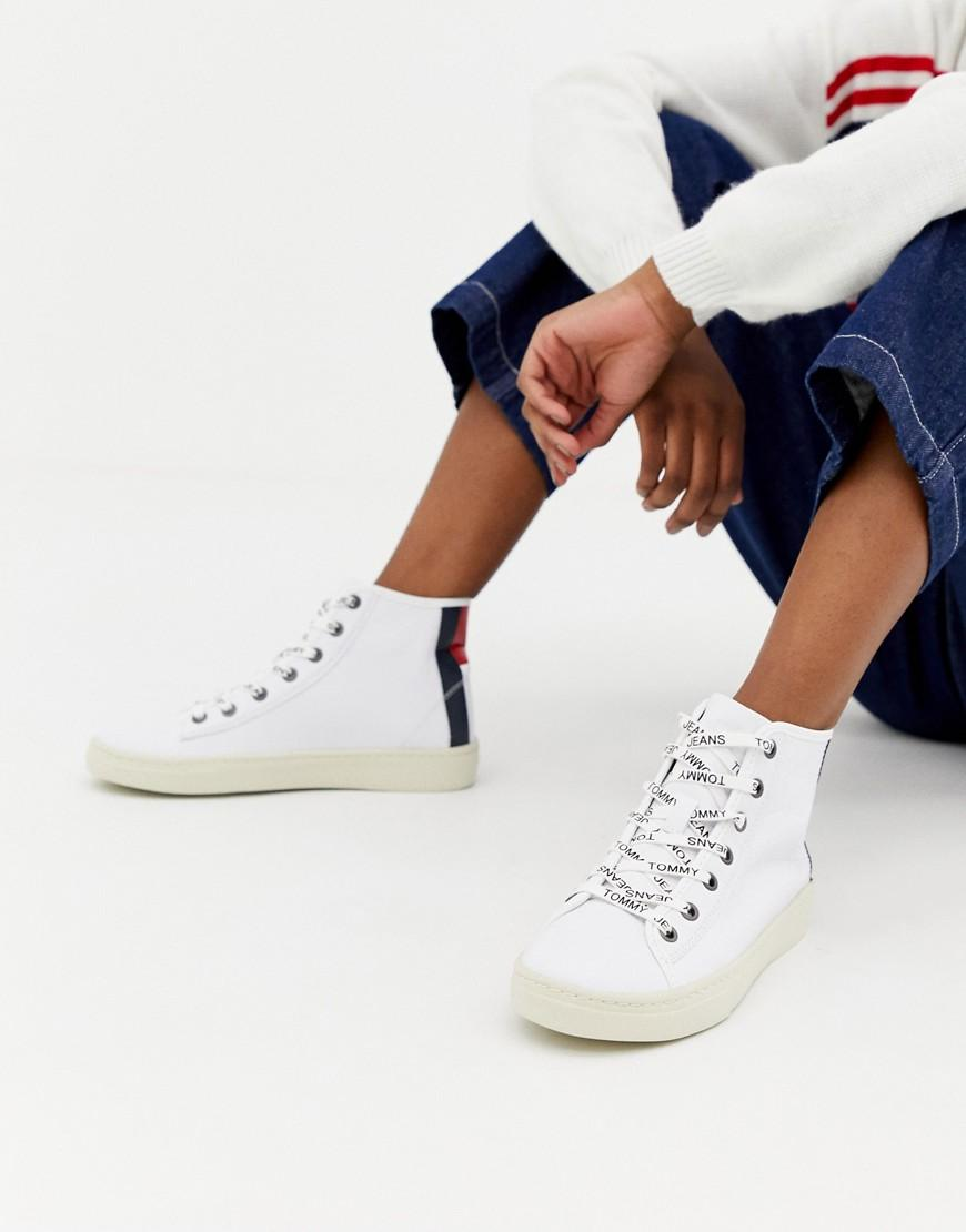 d7e0516960e8 Lyst - Tommy Hilfiger Leather Sneaker With Flag Heel Detail in White