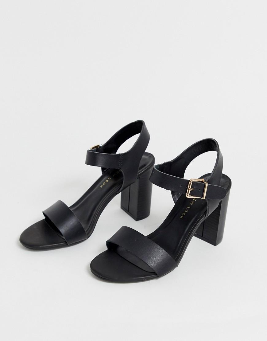 a1c93de7c1c New Look Wide Fit Block Heeled Sandals In Black in Black - Lyst