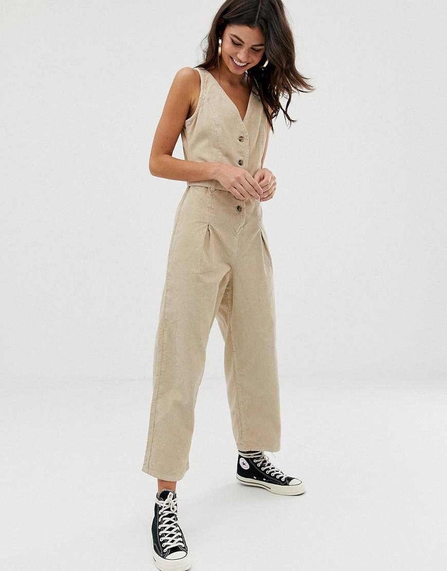 77805bbaece2 ASOS Button Through Jumpsuit Cord In Stone in Natural - Lyst