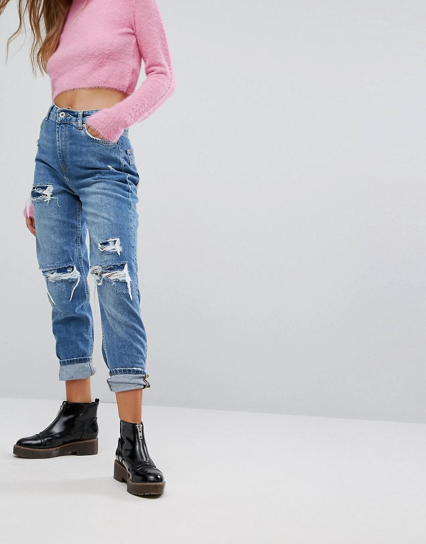 Lyst Bershka Distressed Denim Boyfriend Jeans In Blue
