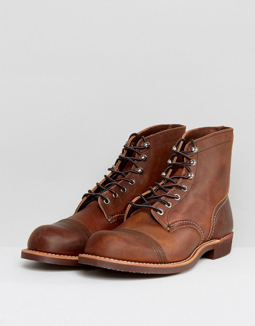 Red Wing Iron Ranger Leather Lace Up Boots In Copper In Brown For