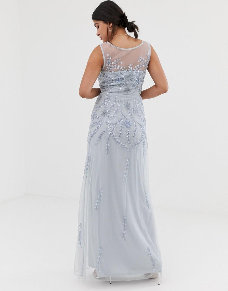 a800fe31 Lyst - Amelia Rose Embellished Sleeveless Maxi Dress In Soft Blue in Blue