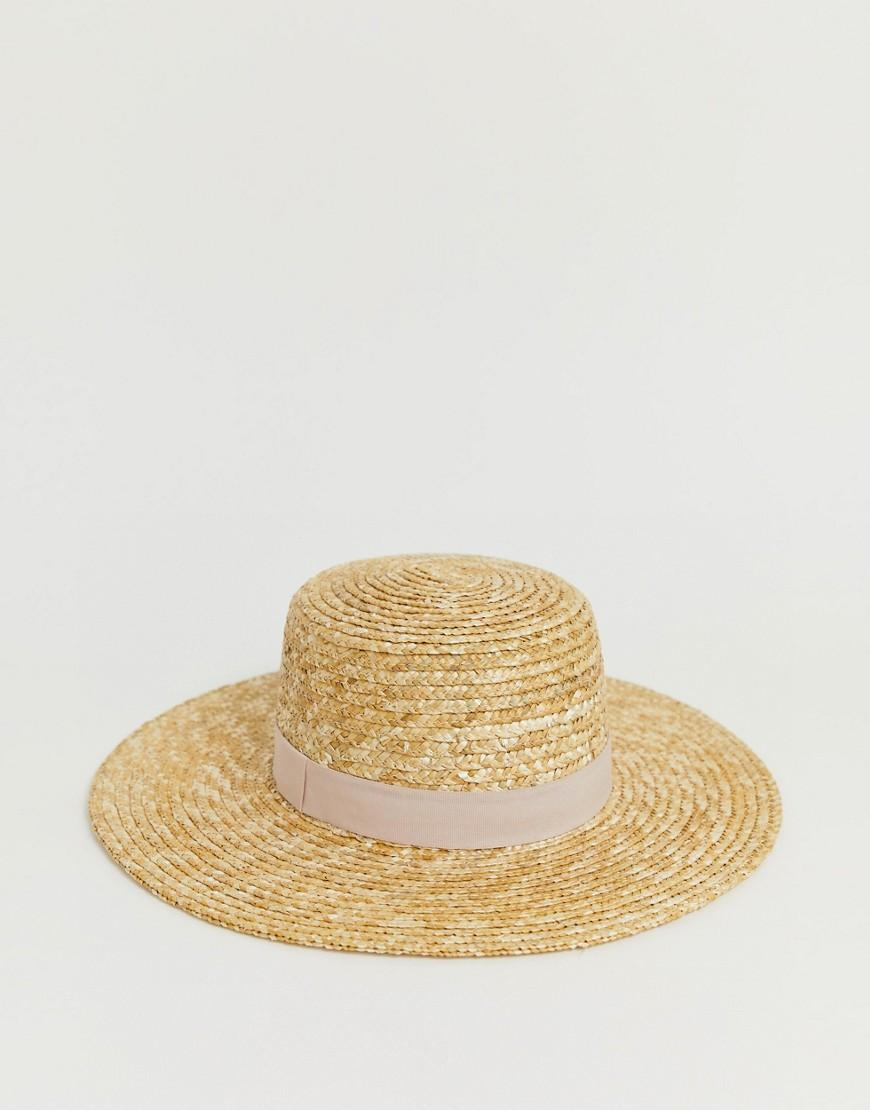 cf44c7ed ASOS Natural Straw Easy Boater With Size Adjuster And Light Band in Brown -  Lyst