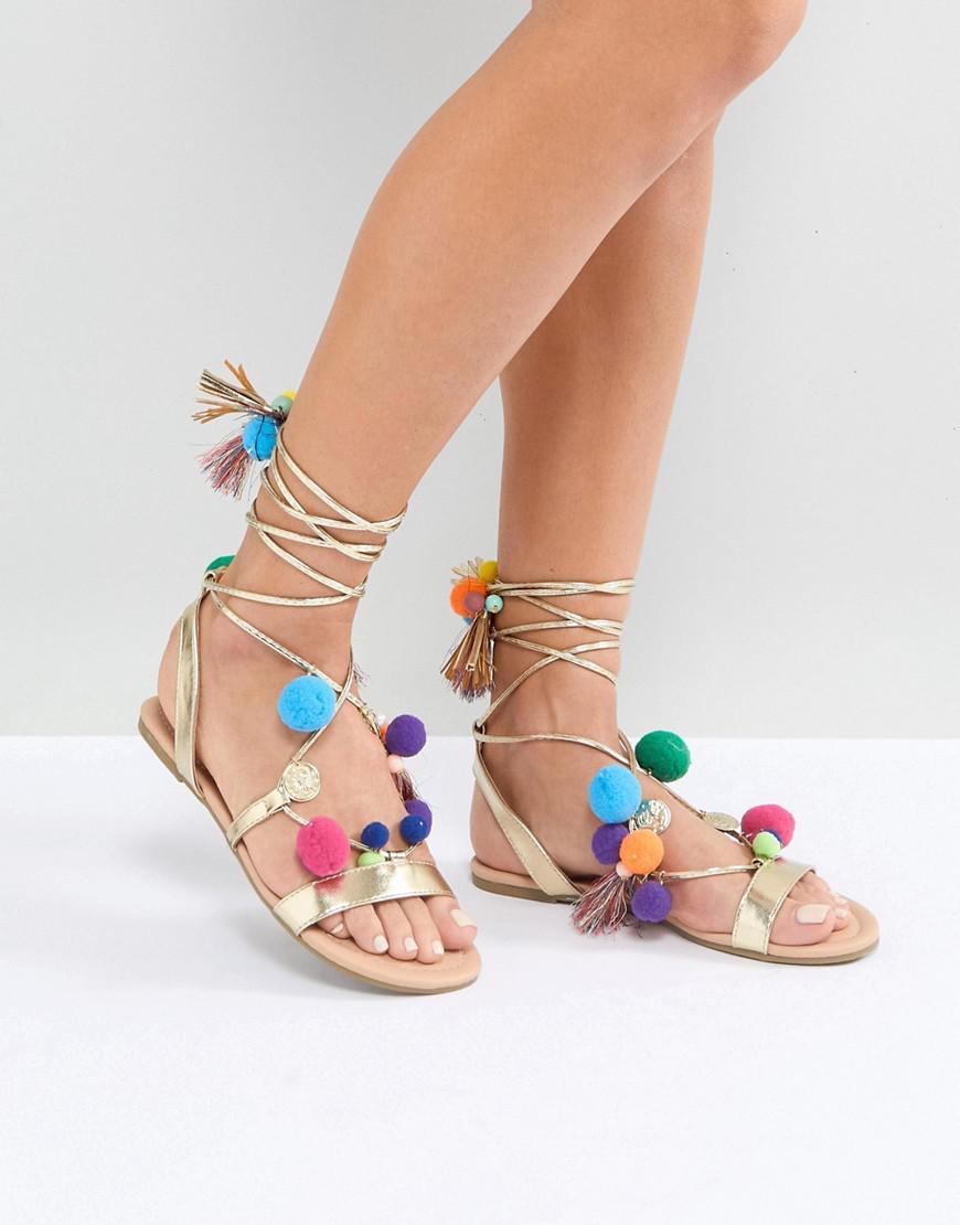 FACEMASK Wide Fit Pom Pom Flat Sandals - Gold Asos x7v83aot