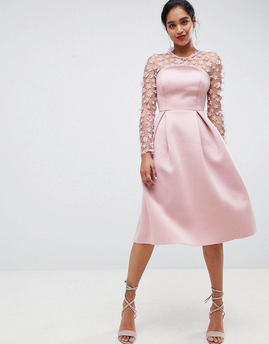 Lyst - ASOS 3d Floral Lace Bandeau Scuba Prom Midi Dress in Pink 8bb3ddc87