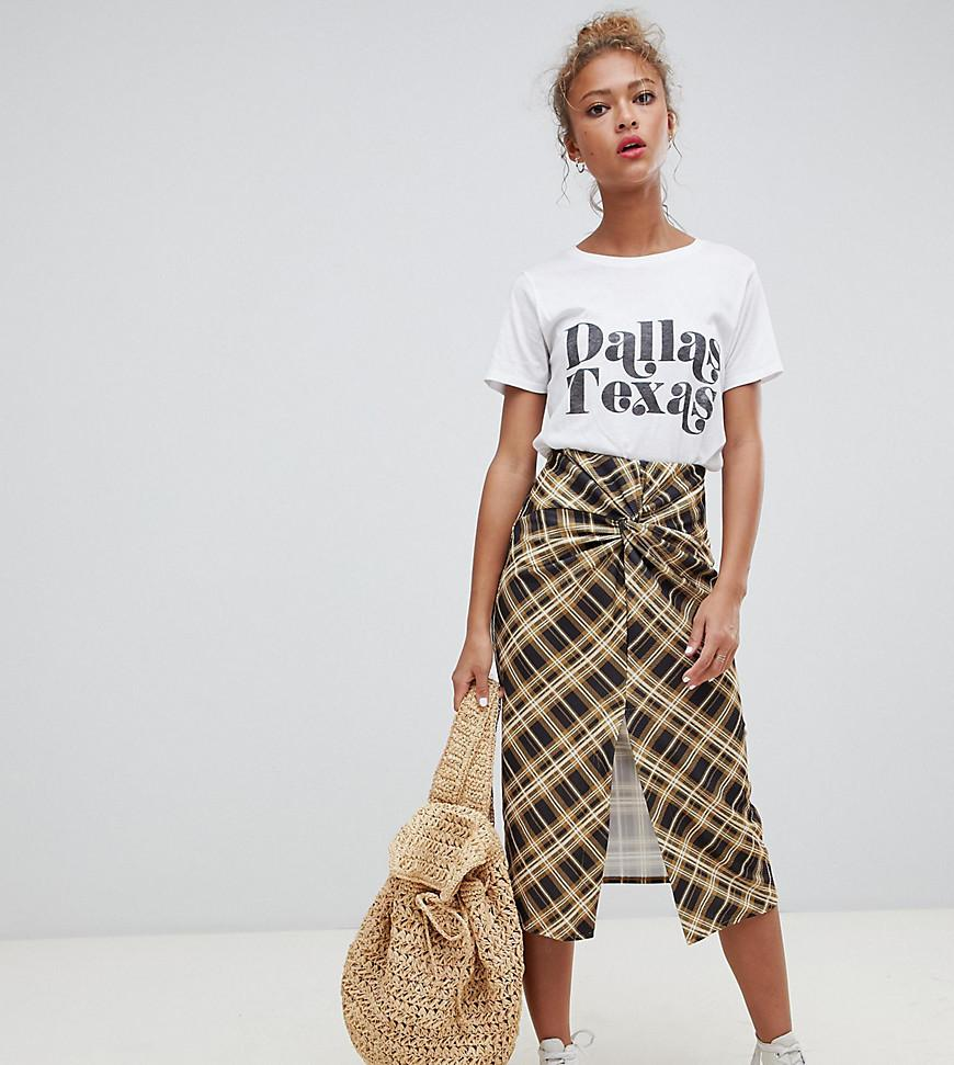 6e38a2fad Pull&Bear Check Midi Skirt With Twist Detail - Lyst