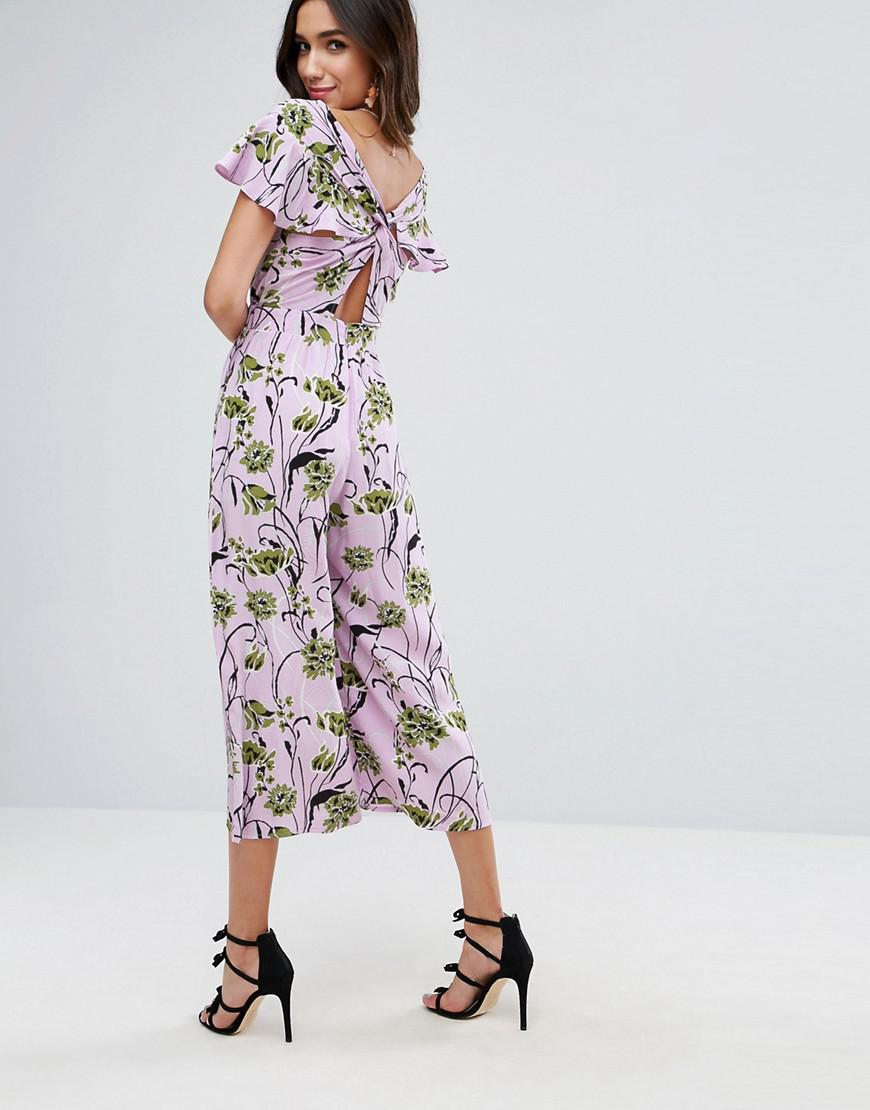 Lyst - Asos Jumpsuit With Twist Back And Frill Detail In ...