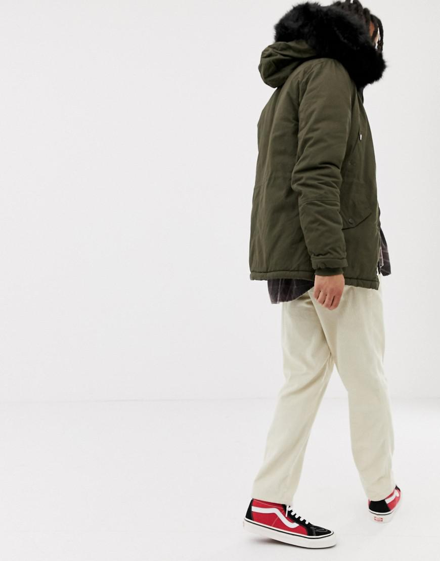 5c6ba74c70bb1 Sixth June Parka Coat In Khaki With Black Faux Fur Hood in Green for Men -  Lyst